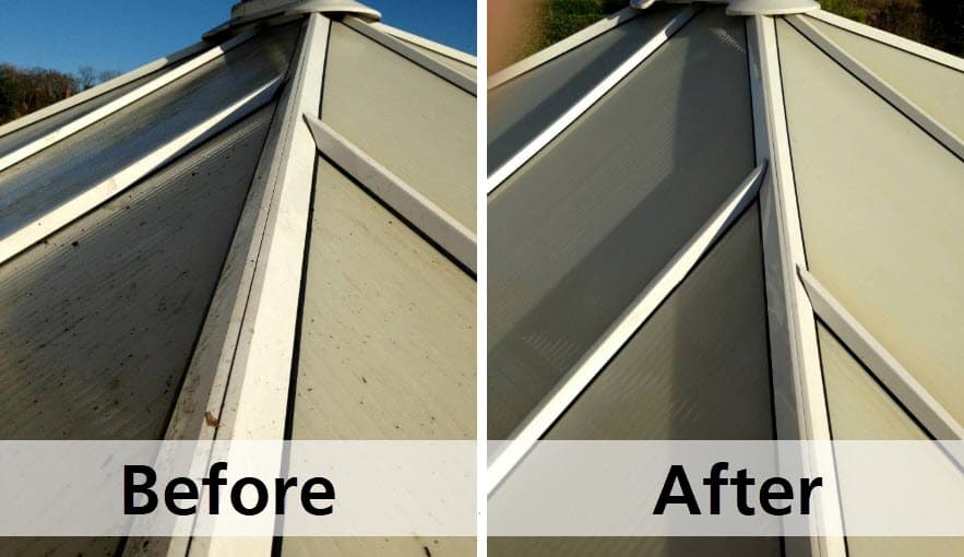 Conservatory Roof Cleaning - before and after photo
